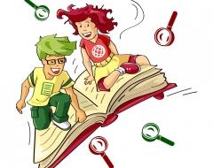 Überprüfung Losleser-Inhalte - Losleser-Figuren auf fliegendem Buch mit fliegenden Lupen drum herum