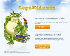 Screenshot Startseite Legakids - Das Internetprojekt für Kinder mit LRS