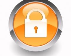 Infos Datenschutz Kinder - orangener Kreis mit Schloss