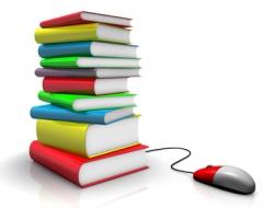 Inhalte Losleser - Bücherstapel mit Computermaus